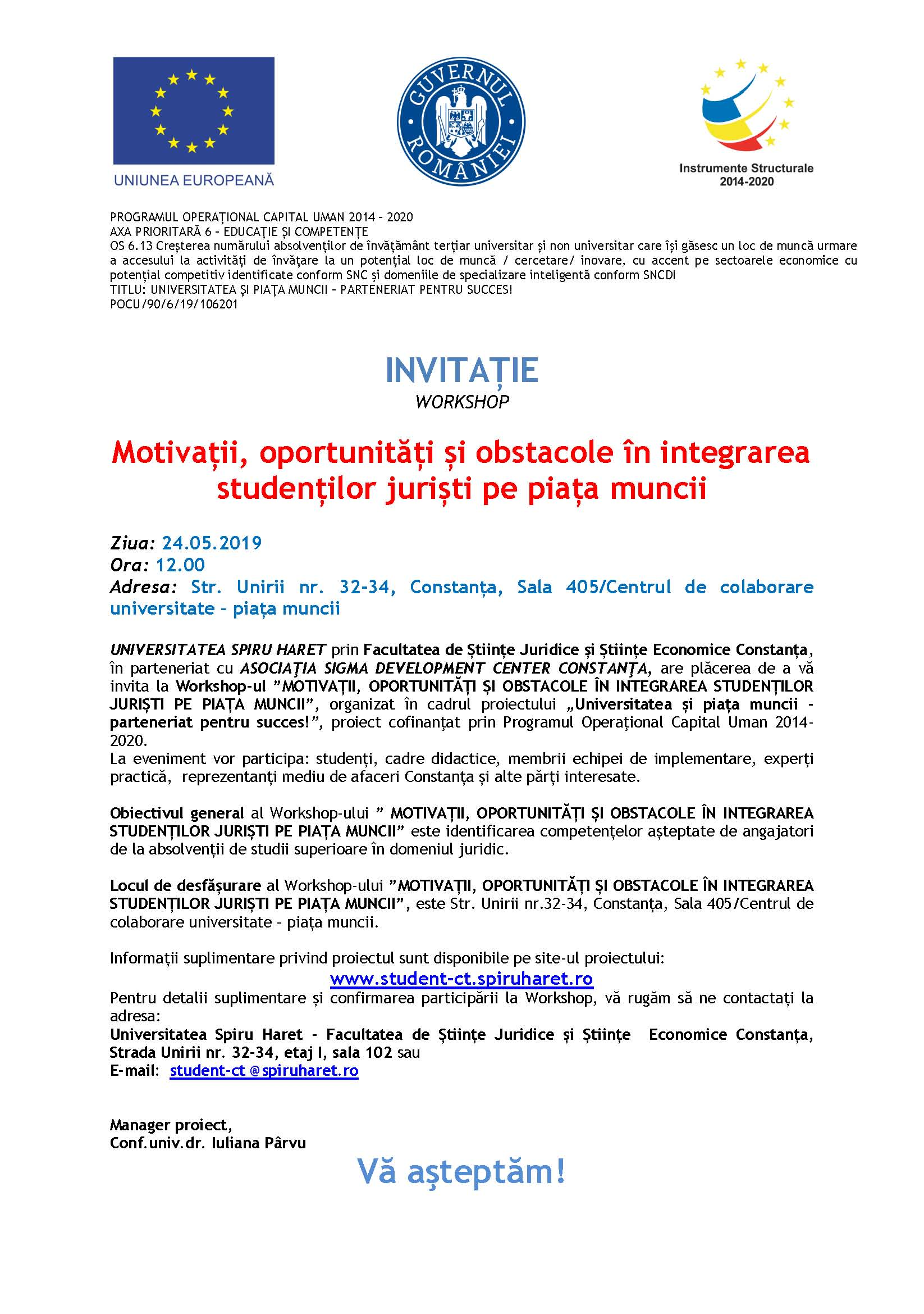 invitatie workshop j 24.05.2019